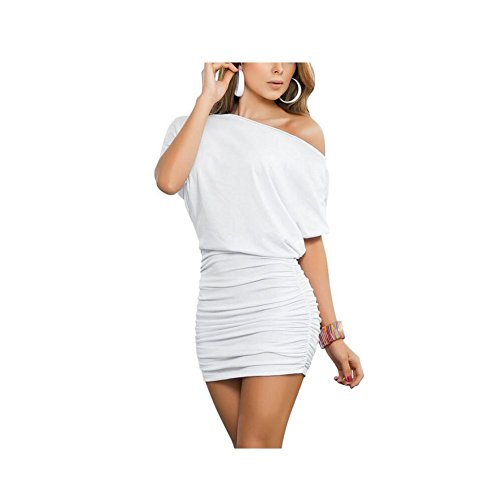 Shirred Short Dress Cocktail Dress - Anxihanee Women's Sexy Off Shoulder Party Club Ruched Bodycon Mini Dress (M, White)