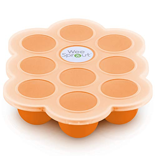 Silicone Baby Food Freezer Tray with Clip-on Lid by WeeSprout – Perfect Storage Container for Homemade Baby Food, Vegetable & Fruit Purees and Breast Milk – BPA Free & FDA Approved