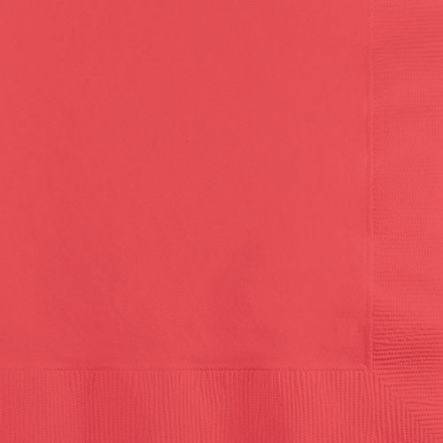 Creative Converting 803146B Paper Beverage Napkins Touch of Color, Coral -