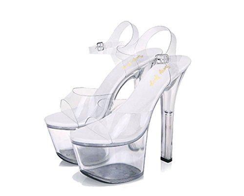 SexyPrey Women's Spike High Heels Ankle Strap Clear Platform Dressy Sandals Clear tx8ScsqD