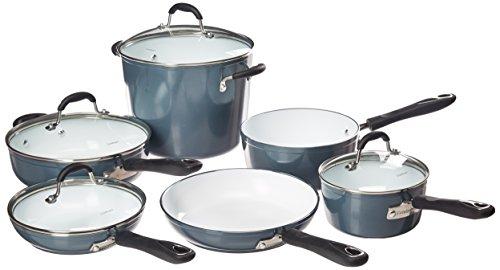 Cuisinart 59-10SB Elements Non-Stick 10 Piece Set, N/A, Slate Blue (Cuisinart Ceramica 10 Pc Nonstick Cookware Set)