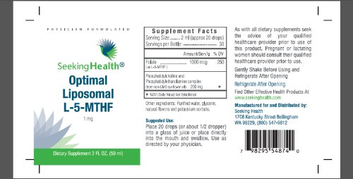 Optimal Liposomal L 5 MTHF | Provides 1,000 mcg of Folate (as L 5 MTHF) per serving | Natural Phosphatidylcholine Derived From Sunflower | Soy Free | Non GMO | Physician Formulated | Seeking Health