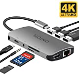 USB C Hub Adapter, ONTOTL 9 in 1 Aluminum Thunderbolt 3 Adapter Type C Hub with 4K HDMI Output, 1000M Ethernet Port, Type C Charger Port, 3 USB 3.0, SD & TF, 3.5mm Audio/Mic [Newest 2018]