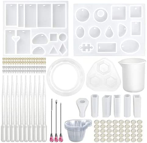 Valentines Day Gift Diy Crystal Glue Kit Bangle Pendant Jewelry Silicone Mold with A Black Storage Bag for DIY Jewelry Craft Making white 83 Pieces Silicone Casting Molds and Tools Set