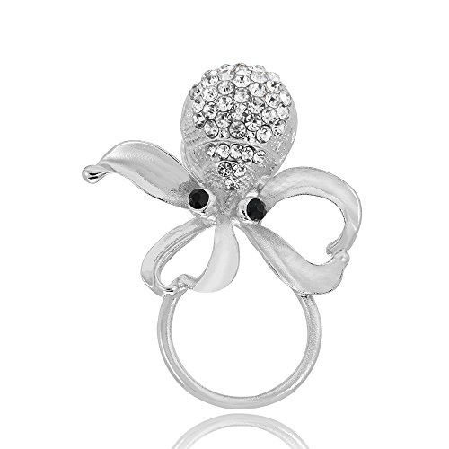 GUANDU Nautical Octopus Crystal Magnetic Eyeglass Holder for Unisex Gifts (Silver) by GUANDU