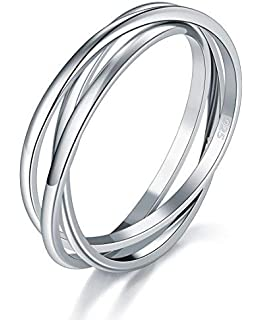 Silverly Mens Womens .925 Sterling Silver Twelve Interlocking Russian Wedding Ring