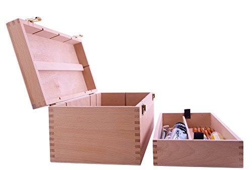 Mont Marte Artist's Storage Box, Brush & Accessory Box Beech Wood