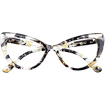 06252bba9 SOOLALA Womens Oversized Fashion Cat Eye Eyeglasses Frame Large Reading  Glasses, Yellow, ClearLens