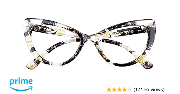 478d68d6b50 Amazon.com  SOOLALA Womens Oversized Fashion Cat Eye Eyeglasses Frame Large  Reading Glasses