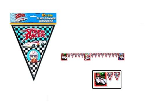 Speed Racer Flag - SPEED RACER Party Decoration Foil Flag Banner 12 FT Long - 1 Count