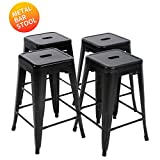 Bar Height Bar Stools Metal Stools Bar Stools 24 Inch Height Stackable Barstools Indoor Outdoor Dining Backless Kitchen Bar Stools Set of 4