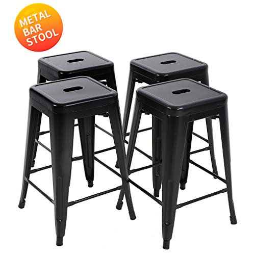 Metal Stools Bar Stools 24 Inch Height Stackable Barstools Indoor Outdoor Dining Backless Kitchen Bar Stools Set of 4 (Outdoor Sets Counter Height)