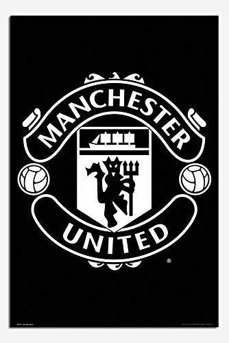 Manchester United Black & White Crest Poster Gloss Laminated - 91.5 x 61cms (36 x 24 Inches)