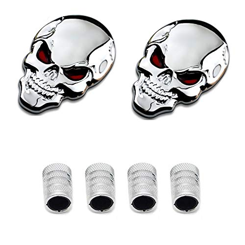 Dsycar 1Pair 3D Metal Skull Head Car Badge Emblem Sticker +4Pcs Knurled Style with Plastic Core Valve Caps for Universal Car Styling Decorative Accessories (Silver) (Skull Head Car)