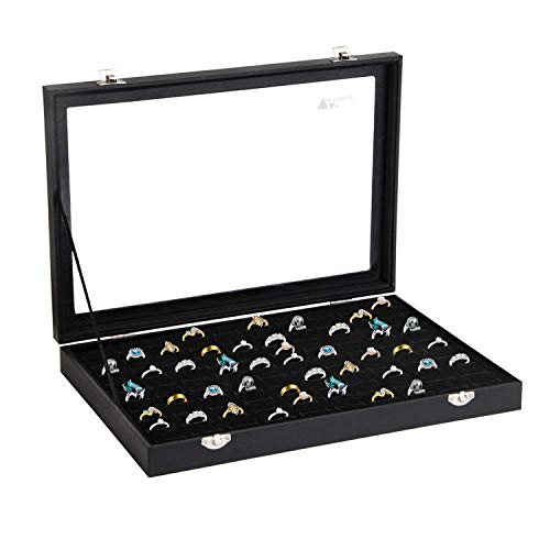 amzdeal Ring Box 100 Slot Jewelry Display Storage Collector Earring Showcase Ring Tray Organizer Holder by amzdeal