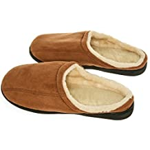 Deluxe Comfort CSWF-910-CAM Male Memory Foam Slippers, Camel Suede with Wool Fleece Lining, 9-10