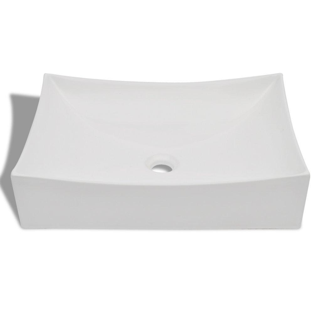 Festnight Vasque de Salle de Bains C/éramique Rectangulaire 65,5 x 39 x 14 cm Blanc