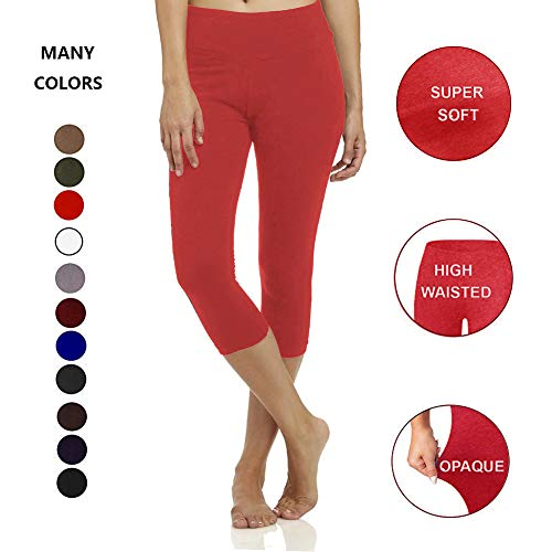 (High Waisted Soft CapriLeggingsforWomen-Tummy Control-One/Plus Size 20+Design (Red, ONE Size (US 2-12)))