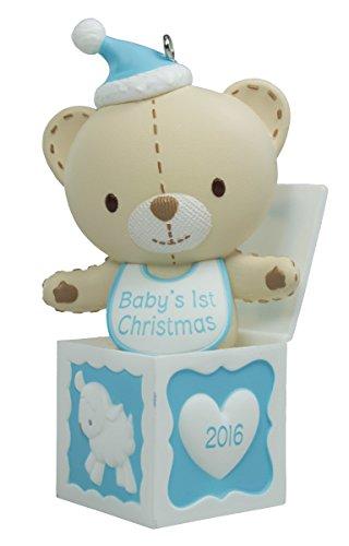 Boy Teddy Bear Ornament - Hallmark 2016 Baby Boy's First Christmas Teddy Bear Christmas Ornament