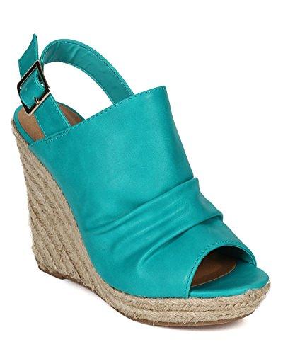 n Leatherette Peep Toe Slingback Espadrille Wedge Sandal - Aqua Leatherette (Size: 6.5) (Aqua Wedges)