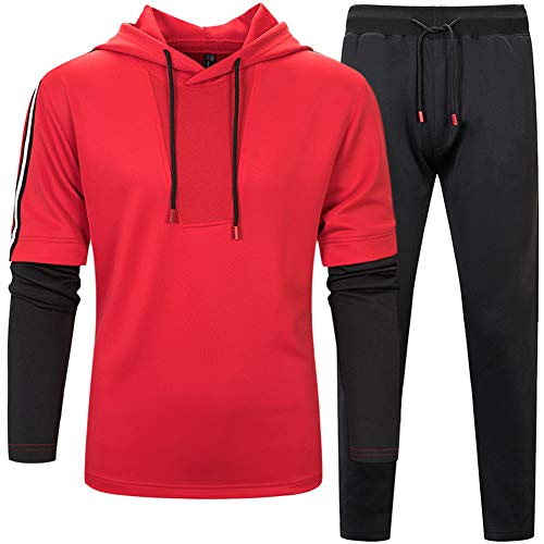 MANLUODANNI Men's Pullover Athletic Hoodie Jogger Sweat Suit Running Tracksuit Red - Sweat Red Jacket