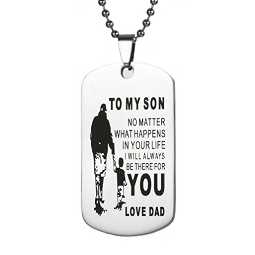 ZYooh Dog Tag Necklace and Key Ring Remember You are Braver Than You Believe Jewelry Dad Mom to Son Daughter (E)