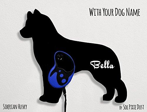 Siberian Husky Dog - Custom Name Dog Leash Holder - Wall Hook - Siberian Husky Leash Holder