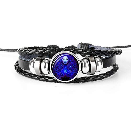 FRS2FJH 12 Constellation Zodiac Sign Black Braided Leather Bracelet Leo Virgo Libra Woven Glass Dome Jewelry Men Bracelet,Virgo