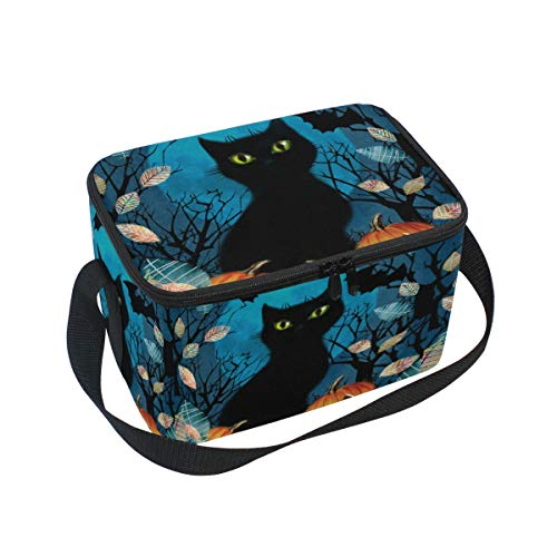 (Lunch Bag Tote Bag Pumpkin Black Cat Moon Lunch Box Insulated Lunch Holder for Men &Women)