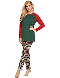 Womens Pajamas Set Christmas Red Green Pajama Top Print PJS Pants Sleepwear