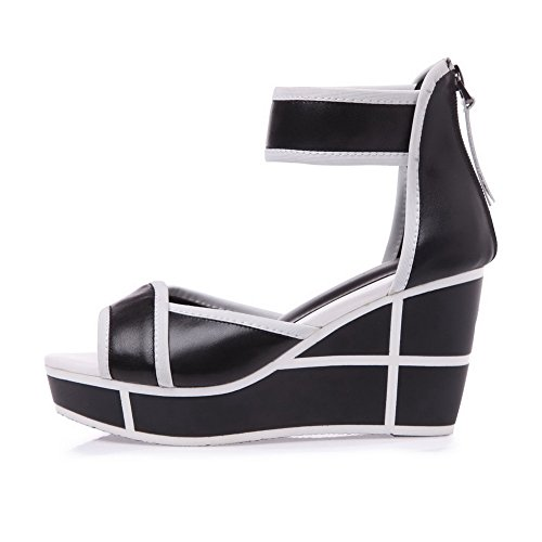 Amoonyfashion Donna Colori Assortiti Sandali Peep-toe Con Cerniera E Tacco Alto In Materiale Morbido Nero