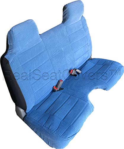 Seat Cover for Toyota Tacoma Regular Cab Front Bench A27 Thick Triple Stitched Molded Headrests Large 5 to 7 inch Shifter Cutout Exact Fit (Blue)
