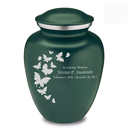(Adult Embrace Butterfly Cremation Urn with Custom Engraving Green)