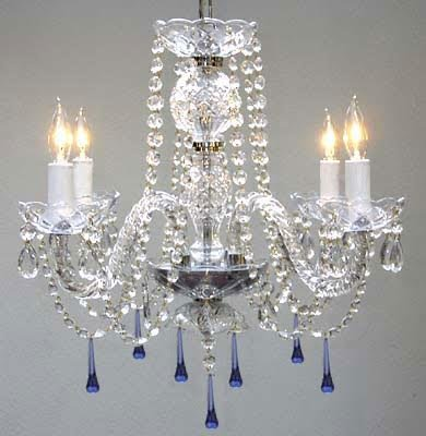 Murano Venetian Style All Crystal Chandelier Lighting W/ Blue Crystals! H17″ x W17″