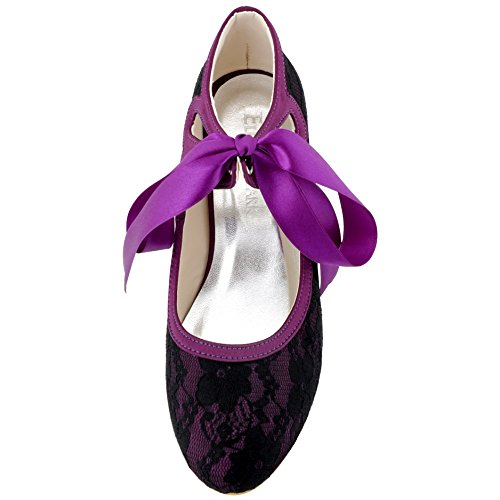 Femme Chaussures Bal Mary Janes Bout Rond de HC1521 mariee mariage Ruban ElegantPark Dentelle Noir Escarpins qExUOwUXz