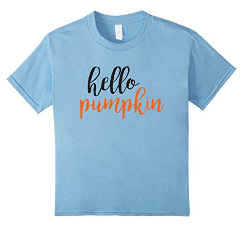 Kids Hello Pumpkin Cute Pumpkin Spice Fall T-Shirt 10 Baby Blue