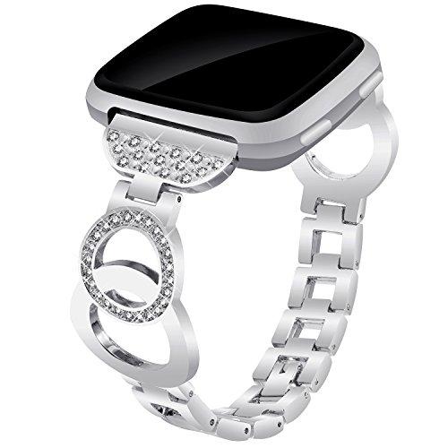 VOMA for Fitbit Versa Bands Women Men, Metal Adjustable Replacement Strap Bracelet Wristband for Fitbit Versa Smartwatch Fitbit Versa Accessories Bangle Silver