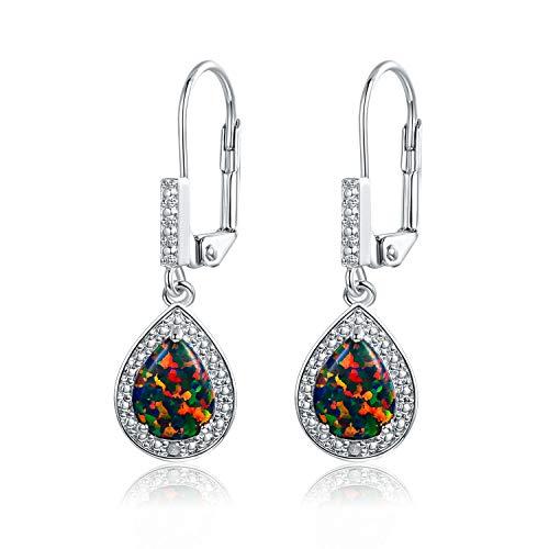 Gold Diamond Created Opal Earrings - Barzel White Gold Plated or Rose Gold Plated Created Opal & Diamond Accent Drop Earrings (White Gold Black Opal)