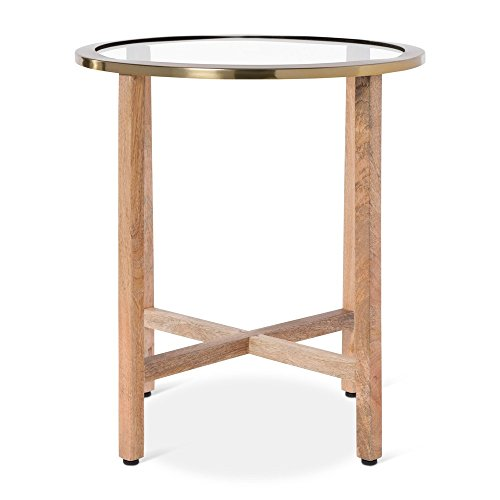 Nate Berkus Glass Top Round End Table Coffee Table with Brass Edges -