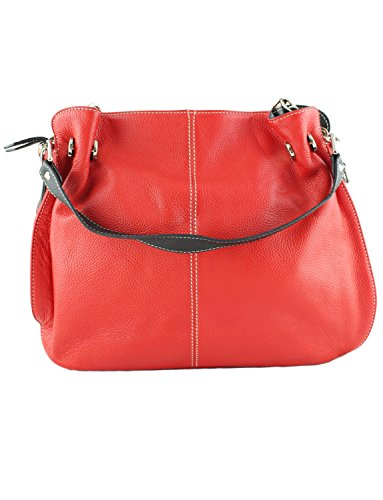 Daniela In Italian Black Pelle Leather Red Shoulder amp; Handbag Moda Womens Grain Tote Soft rr5Sw1q
