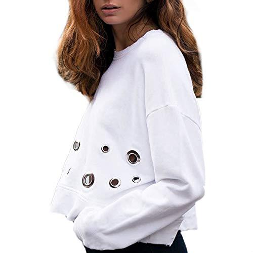 Ample Sweat O cou Zffde Capuche Blanc shirt Femmes Sweatshirts Évider Longues Pull Manches wqqvHCgnT