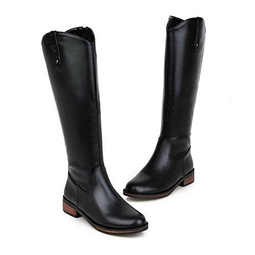 AgooLar Damen Ziehen auf Rund Zehe PU Mitte-Spitze Stiefel mit Metall Nägel, Schwarz, 38
