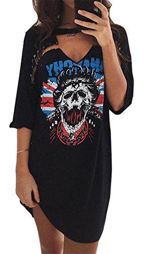 BomDeals Fashion Summer Casual Half Sleeve Deep-v Neck Skull T-shirt Dress (L, Black) (Teen Sexy Dress)