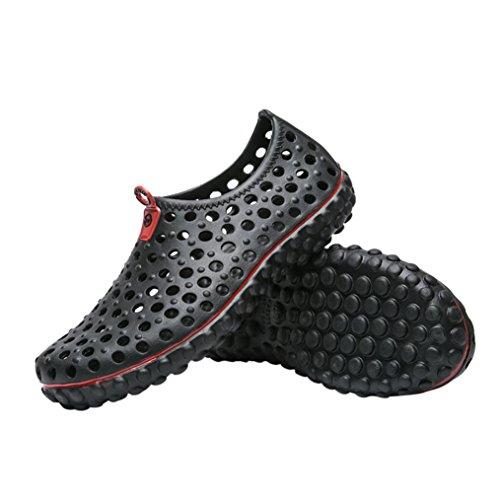 Sneakers Waten Herrenmode Flache Slipper Lässige Herren Schwarz Rutschfeste Schuhe Strand LHWY Hohlen Sommer Männer Luftloch für f70Kq