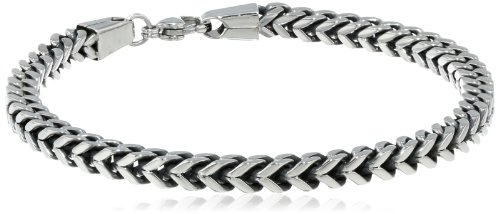 """Men's Antique Finish Stainless Steel 5mm Wheat Chain Bracelet, 9"""" by Amazon Collection"""