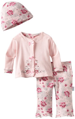 Vitamins Baby Baby-girls Newborn Rose Flowers 3 Piece Cardigan Pant Set