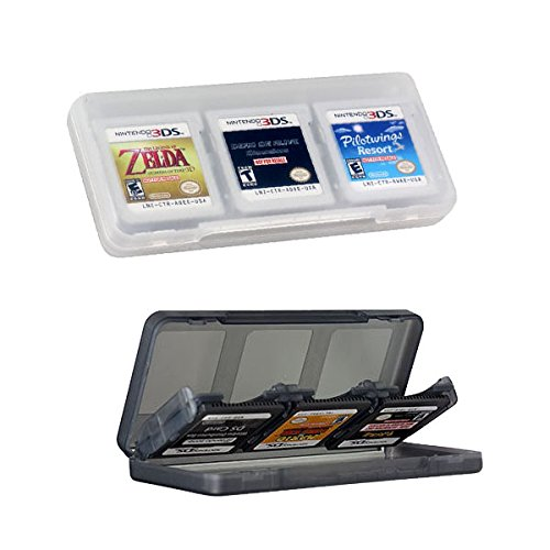 - Haobase 2Pcs 6-in-1 Clear & Gray Game/Memory Card protection hard case for Nintendo 3DSLL