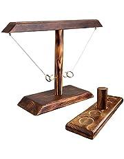 DIIQII Ring Toss Game, houten tafelblad Hook ringwerpspel kinderen, premium party werpspel voor Family Bar Fun Indoor/Outdoor Game