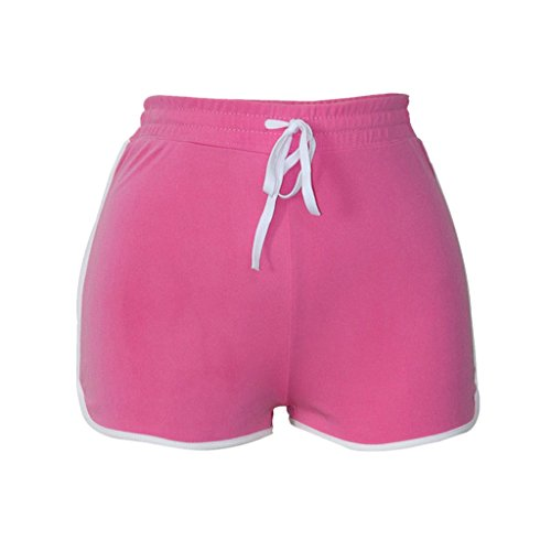 - Clearance Sale!FarJing Women High Waist Yoga Pants Bandage Elastic Waist Casual Short Pants(M,Pink)