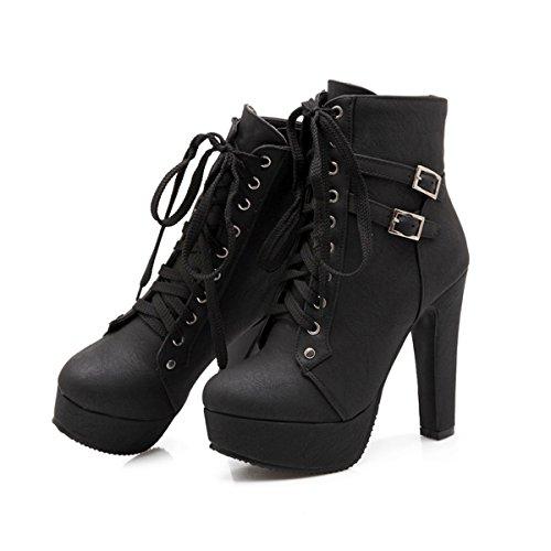 Martin Boots Cálido para tobillo CHNHIRA invierno de mujer Negro cordones Plataforma con qwnWvUT